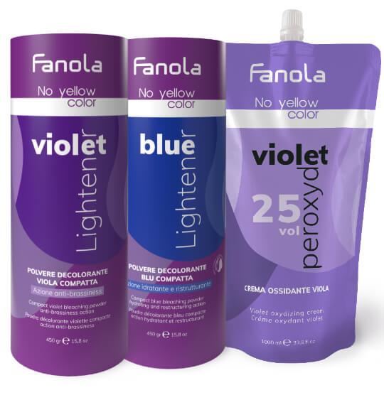 Fanola No Yellow kék és lila szőkítőporok és lila krémperoxid