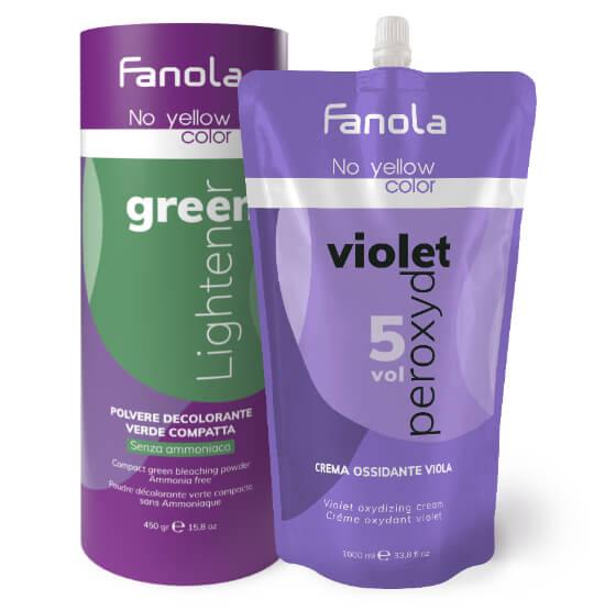 Fanola No Yellow zöld szőkítőpor és lila krémperoxid